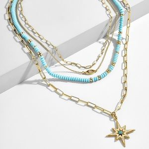 Baublebar GALEXIA Layered Necklace Turquoise Gold